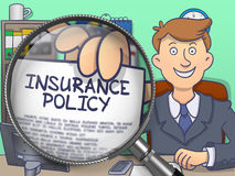Insurance Policy through Magnifier. Doodle Style. Insurance Policy. Paper with Inscription in Business Man's Hand through Lens. Colored Doodle Style Royalty Free Stock Photography