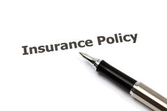 Insurance policy. With pen on white Stock Photos