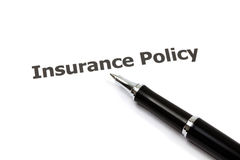 Insurance policy. With pen on white Royalty Free Stock Photos