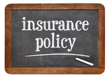 Insurance policy text on blackboard Stock Photo