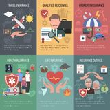 Insurance Poster Set. Insurance mini poster set with travel property old people health protection isolated vector illustration Royalty Free Stock Images
