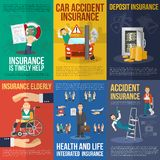 Insurance Poster Set Stock Images