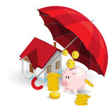 Insurance Protection. An illustration of Insurance Protection Red Umbrella Protecting Bank Account and Property Assets stock illustration