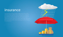 Insurance Protection Concept. Businessman and Umbrella. Vector Stock Image