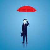 Insurance Protection Concept. Businessman and Umbrella. Vector Stock Photo