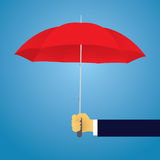 Insurance Protection Concept. Businessman and Umbrella. Vector. Vector illustration. Insurance protection concept. Businessman and umbrella, risk threat Royalty Free Stock Images