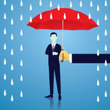 Insurance Protection Concept. Businessman and Umbrella. Vector Stock Photos