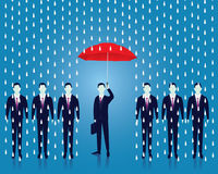 Insurance Protection Concept. Businessman and Umbrella. Vector Stock Photography