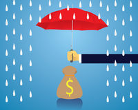 Insurance Protection Concept. Businessman and Umbrella. Vector Royalty Free Stock Images