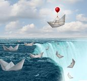 Insurance protection and risk aversion security symbol as paper boats in peril with one saved by a balloon as a coverage assurance. Concept with 3D illustration royalty free illustration