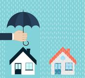 Insurance, protection small house by hand with umbrella Royalty Free Stock Image