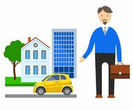 Insurance, real estate, cars, coloured illustrations. Royalty Free Stock Photos