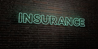 INSURANCE -Realistic Neon Sign on Brick Wall background - 3D rendered royalty free stock image. Can be used for online banner ads and direct mailers Stock Photos