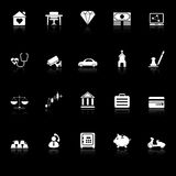 Insurance related icons with reflect on black background Royalty Free Stock Image