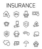 Insurance related vector icon set. Well-crafted sign in thin line style with editable stroke. Vector symbols isolated on a white background. Simple pictograms Stock Photos