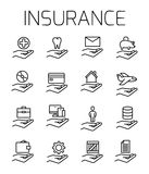 Insurance related vector icon set. Well-crafted sign in thin line style with editable stroke. Vector symbols isolated on a white background. Simple pictograms Stock Photography