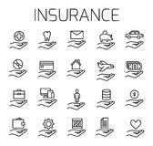 Insurance related vector icon set. Well-crafted sign in thin line style with editable stroke. Vector symbols isolated on a white background. Simple pictograms Royalty Free Stock Image