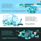 Insurance And Risk Banners Set Stock Photography