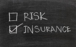 Insurance or risk on blackboard Royalty Free Stock Photo