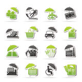 Insurance, risk and business icons. Vector icon set Royalty Free Stock Images