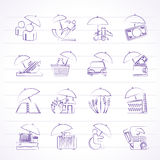 Insurance, risk and business icons. Vector icon set Stock Image