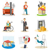 Insurance and risk icons. Insurance and risk insured event flat icons set on white background isolated vector illustration Stock Image