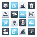 Insurance and risk icons over color background. Vector icon set vector illustration