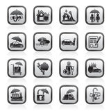 Insurance and risk icons. Vector icon set Stock Image