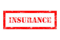 Insurance rubber stamp. In red ink with white background Stock Photos