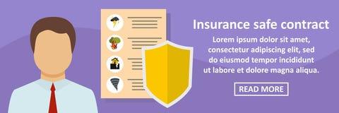 Insurance safe contract banner horizontal concept Royalty Free Stock Photos