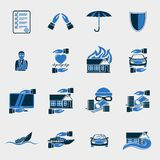 Insurance security icons set. Of agent company finance  isolated vector illustration Stock Photos