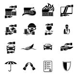 Insurance security icons set. Of healthcare auto car real estate safety isolated vector illustration Royalty Free Stock Photos