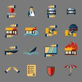 Insurance Security Icons Set. Of medical property house protection  vector illustration Royalty Free Stock Photos