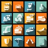 Insurance security icons set Stock Photography