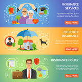 Insurance Service 3 Flat Banners Set Royalty Free Stock Images