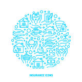 Insurance service outline icons set. Insurance service blue outline icons set for banner, website, print, interface Stock Photos