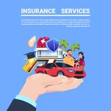 Insurance service protection concept hand car life home medical financial policy contract on blue background flat copy. Space vector illustration Royalty Free Stock Photos