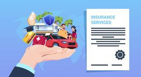 Insurance service protection concept hand car life home medical financial policy contract cartoon on blue background. Flat vector illustration Stock Images