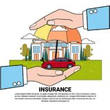 Insurance Services Concept With Hand Holding House And Car Property Protection And Safety. Vector Illustration Stock Photography