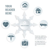 Insurance-services-concept-on-white-background-gray-text-card Stock Photos