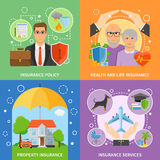 Insurance Services 4 Flat Icons Square Stock Image