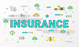 Insurance Services infographic. Flat line style icons concept such as House, Property, Health, Life, Income, Auto and car. Royalty Free Stock Photos