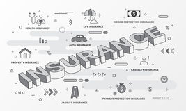 Insurance Services infographic. Flat line style icons concept such as House, Property, Health, Life, Income, Auto and car. Royalty Free Stock Photography