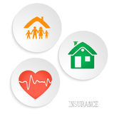 Insurance-services-map-on-the-white-circles-background Stock Images