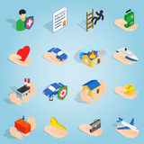 Insurance set icons, isometric 3d style Royalty Free Stock Photo