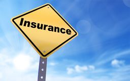 Insurance sign. On blue sky background,3d rendered Stock Photos