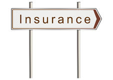 Insurance sign. Insurance. Road sign on a white background. Raster Stock Photo