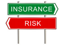 Insurance sign. Insurance. Road sign on a white background. Raster Stock Image