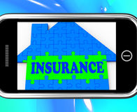 Insurance On Smartphone Showing House Financial Security Stock Images