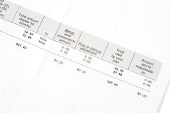 Insurance statement Stock Image